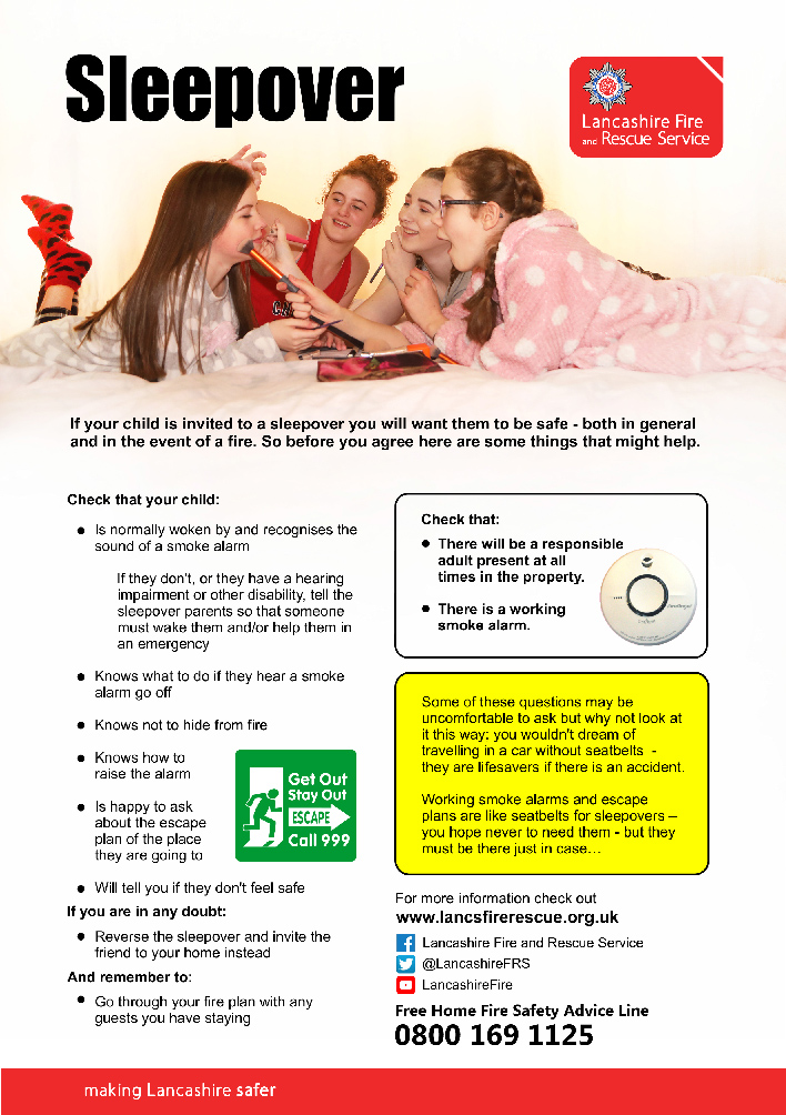 Sleepover safety leaflet