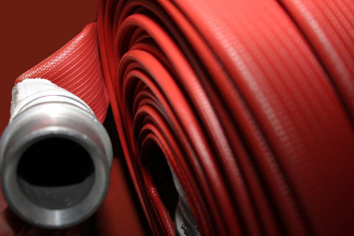 Picture of red hose rolled up