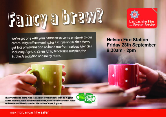 Poster with details for Nelson Fire Station coffee morning