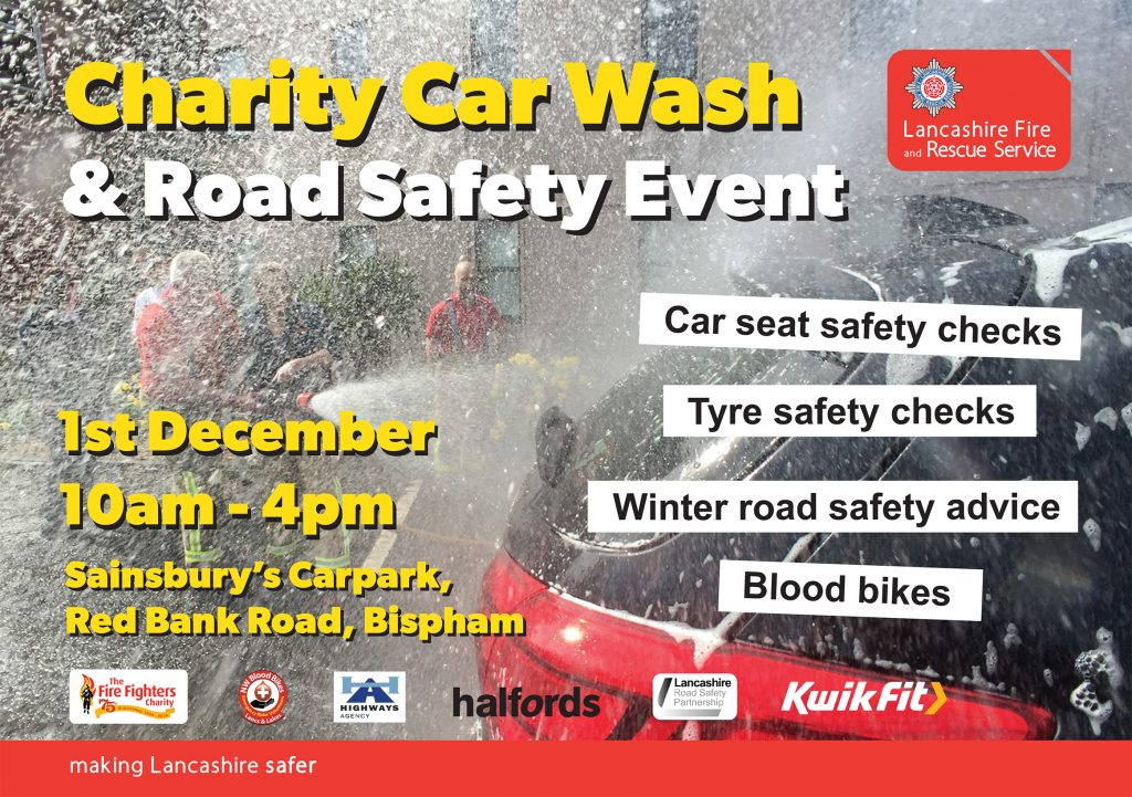 charity car wash & road safety event poster