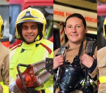Four Firefighters with Equipment