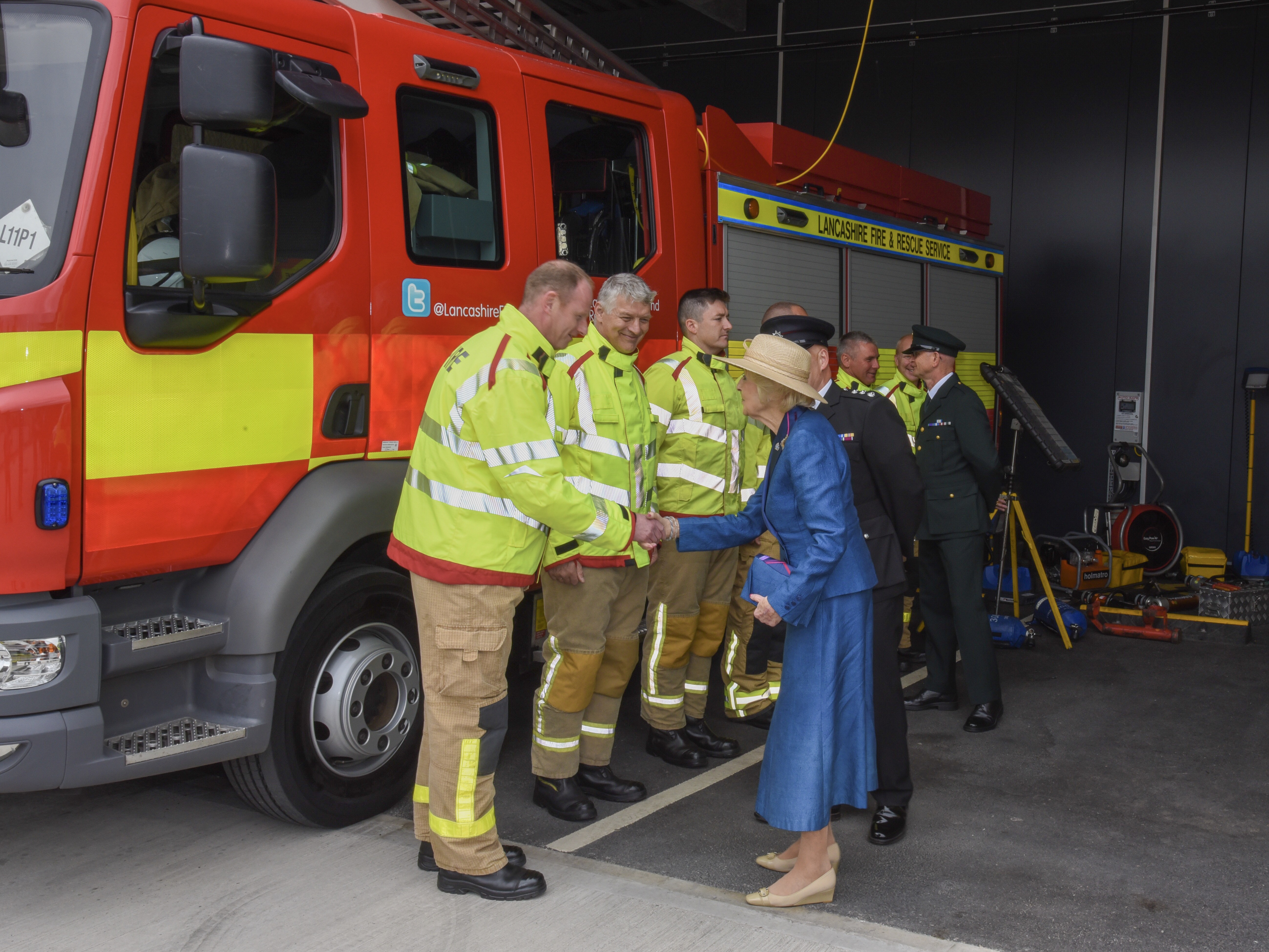 Princess Alexandra meeting firefightesr at Lancaster Community Fire and Ambulance Station offical opening