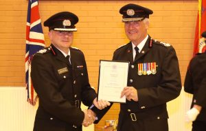 Chief Fire Officer Justin Johnston with former Chief Fire Officer Chris Kenny