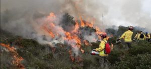 firefighter from Bacup uses tools to fight wildfire