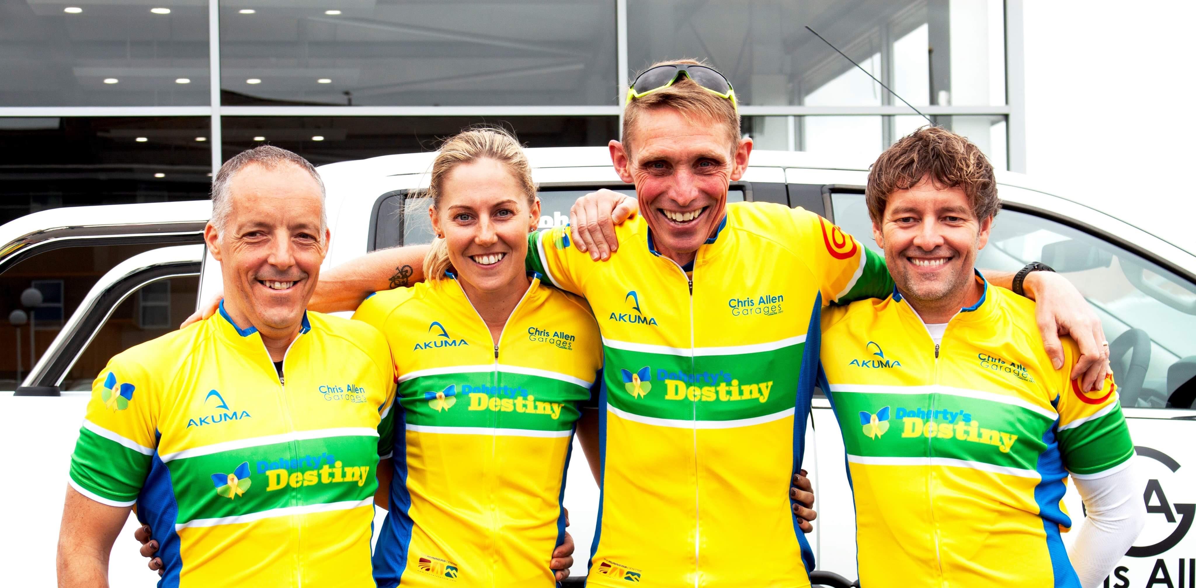 four bike riders doing three peaks