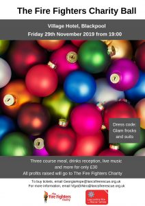 Fire Fighters Charity Ball poster with details of the event