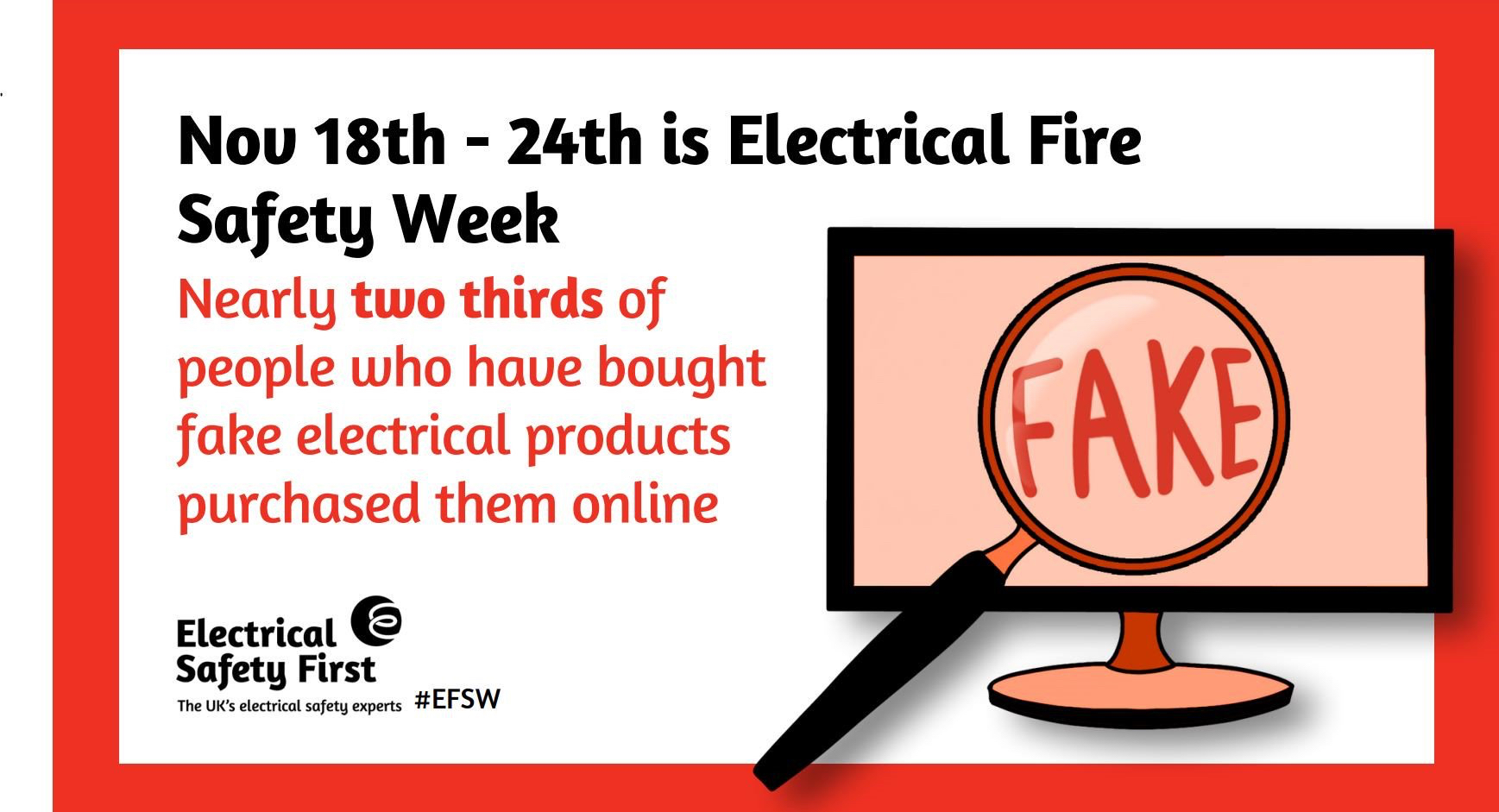 Nearly two thirds of people who have bought fake electrical items ourchased them online