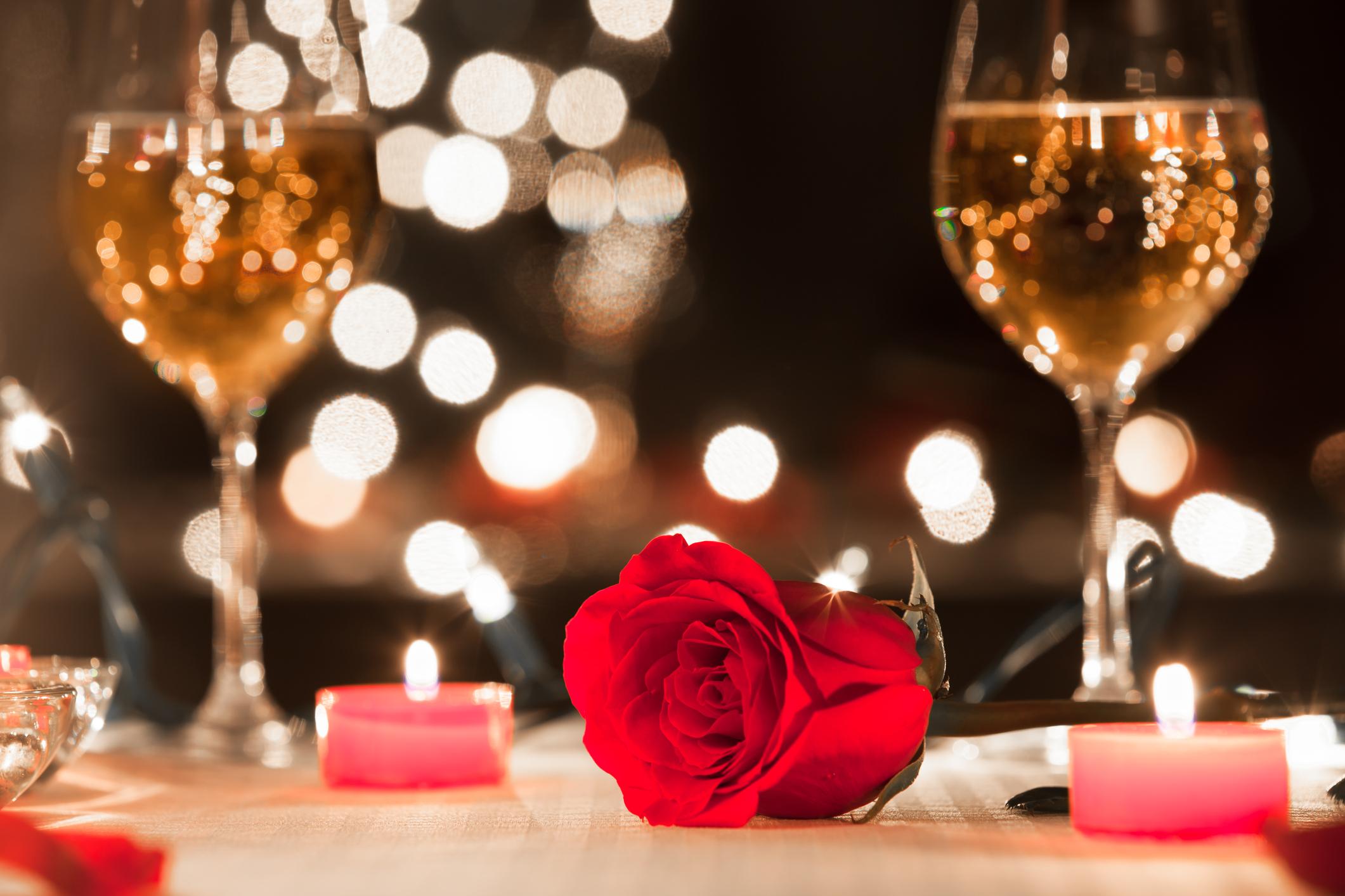 Romantic candlelight dinner in luxury restaurant
