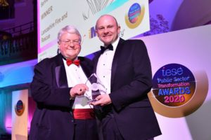 Justin Johnston receiving UK Fire Service of the Year