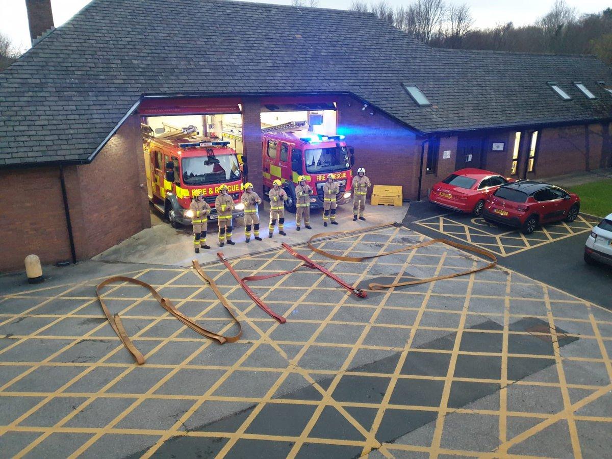 Darwen Fire Station spell out NHS using hose reels
